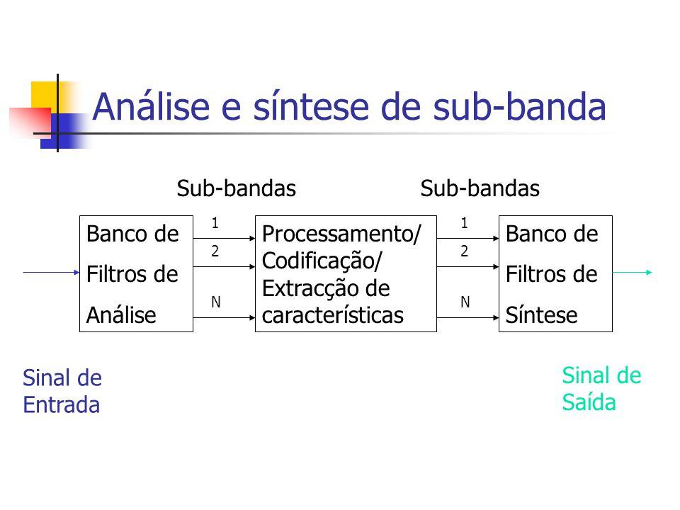 Análise e síntese de sub-banda Banco de Filtros de Análise Banco de Filtros de Síntese Processamento/ Codificação/ Extracção de características Sinal