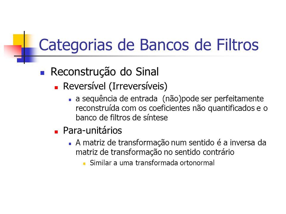 Categorias de Bancos de Filtros Reconstrução do Sinal Reversível (Irreversíveis) a sequência de entrada (não)pode ser perfeitamente reconstruída com o