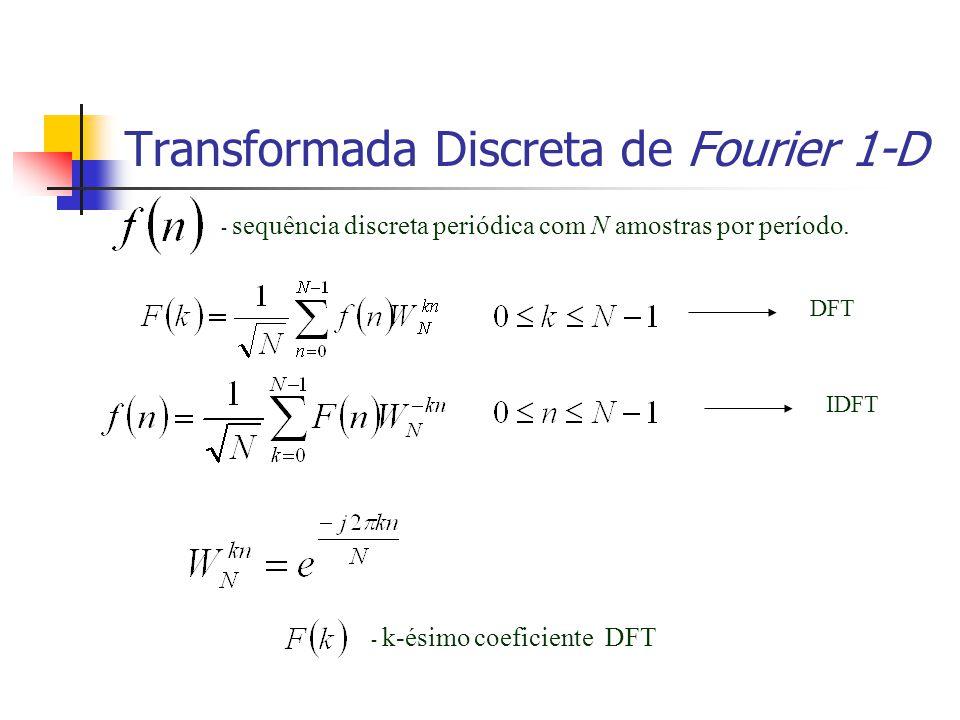 Transformada Discreta de Fourier 1-D - sequência discreta periódica com N amostras por período. DFT IDFT - k-ésimo coeficiente DFT