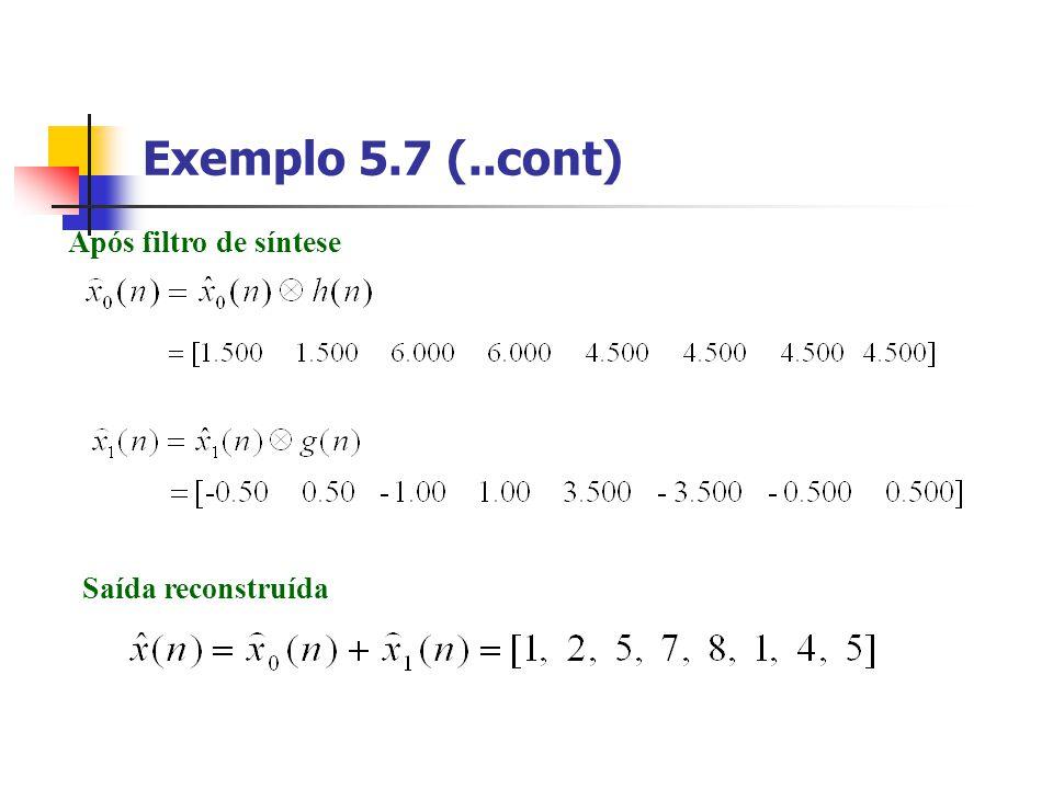 Exemplo 5.7 (..cont) Após filtro de síntese Saída reconstruída