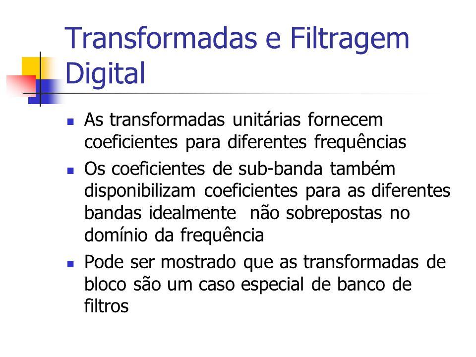 Transformadas e Filtragem Digital As transformadas unitárias fornecem coeficientes para diferentes frequências Os coeficientes de sub-banda também dis