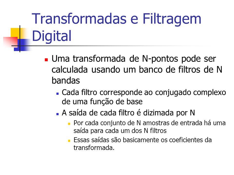 Transformadas e Filtragem Digital Uma transformada de N-pontos pode ser calculada usando um banco de filtros de N bandas Cada filtro corresponde ao co