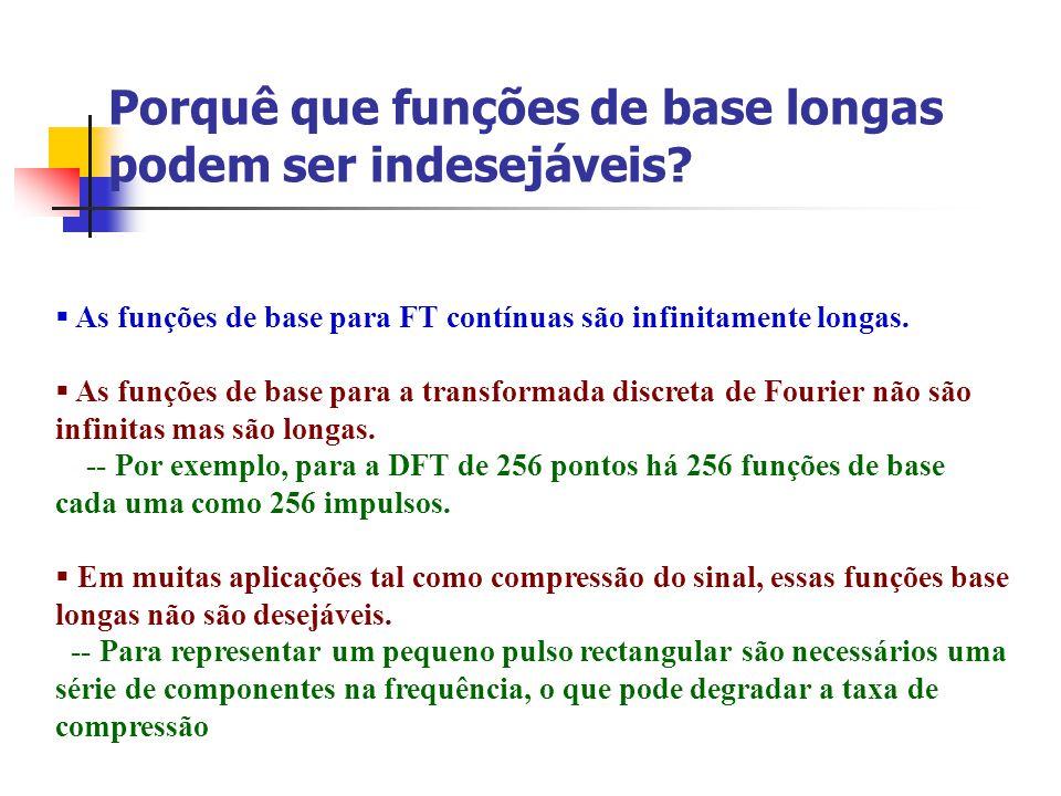 Porquê que funções de base longas podem ser indesejáveis? As funções de base para FT contínuas são infinitamente longas. As funções de base para a tra
