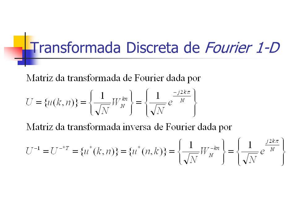Transformada Discreta de Fourier 1-D Exemplo 5.1 Considere uma sequência de 4 pontos f={2,5,7,6}.