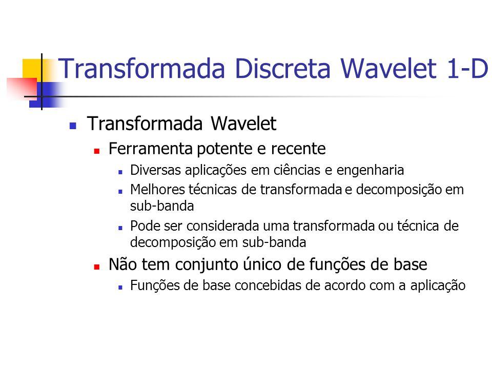 Transformada Discreta Wavelet 1-D Transformada Wavelet Ferramenta potente e recente Diversas aplicações em ciências e engenharia Melhores técnicas de