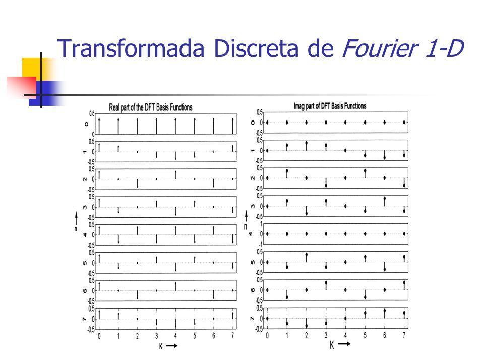 Transformada Discreta de Fourier 1-D Par alternativo Definição do DFT alternativa Usada por muitas concretizações (MATLAB) Diferença apenas de escala Ortogonal mas mas não ortonormal ou unitária
