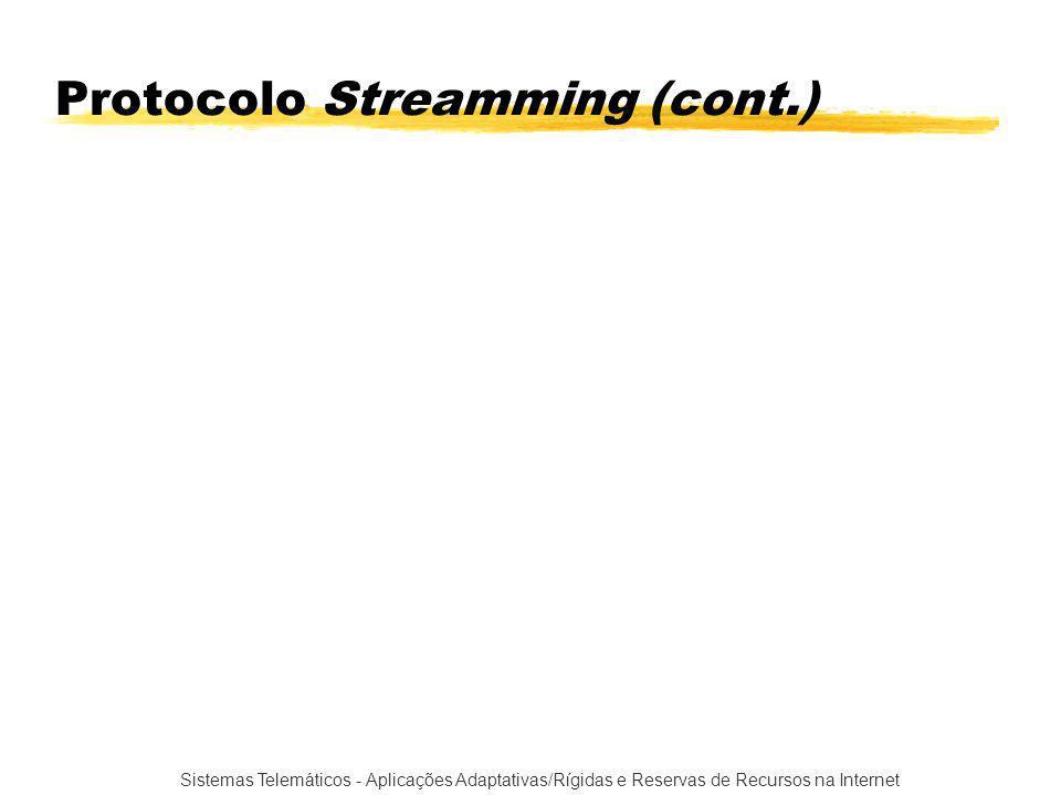 Sistemas Telemáticos - Aplicações Adaptativas/Rígidas e Reservas de Recursos na Internet Protocolo Streamming (cont.)