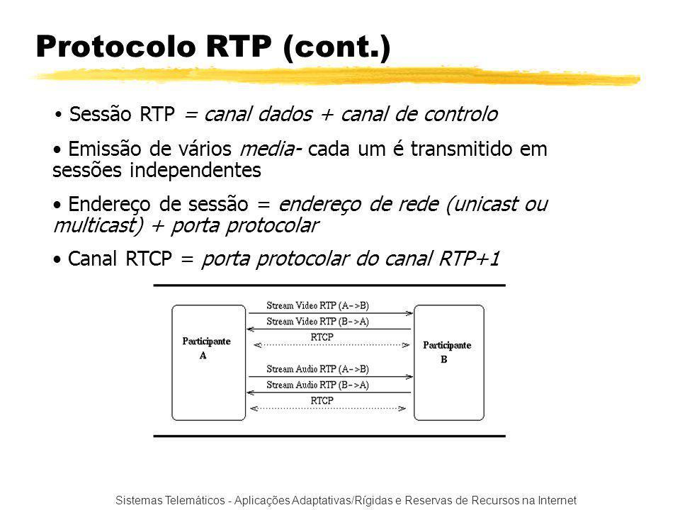 Sistemas Telemáticos - Aplicações Adaptativas/Rígidas e Reservas de Recursos na Internet Protocolo RTP (cont.) Sessão RTP = canal dados + canal de controlo Emissão de vários media- cada um é transmitido em sessões independentes Endereço de sessão = endereço de rede (unicast ou multicast) + porta protocolar Canal RTCP = porta protocolar do canal RTP+1