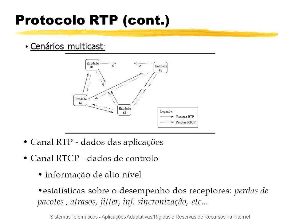 Sistemas Telemáticos - Aplicações Adaptativas/Rígidas e Reservas de Recursos na Internet Protocolo RTP (cont.) Canal RTP - dados das aplicações Canal RTCP - dados de controlo informação de alto nível estatísticas sobre o desempenho dos receptores: perdas de pacotes, atrasos, jitter, inf.