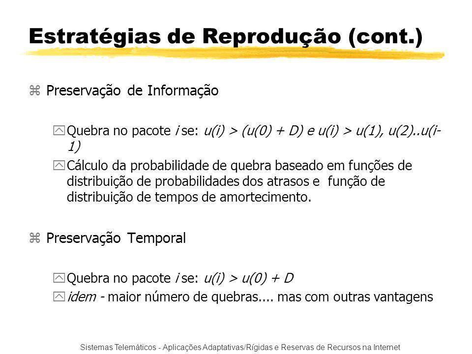 Sistemas Telemáticos - Aplicações Adaptativas/Rígidas e Reservas de Recursos na Internet zPreservação de Informação yQuebra no pacote i se: u(i) > (u(0) + D) e u(i) > u(1), u(2)..u(i- 1) yCálculo da probabilidade de quebra baseado em funções de distribuição de probabilidades dos atrasos e função de distribuição de tempos de amortecimento.