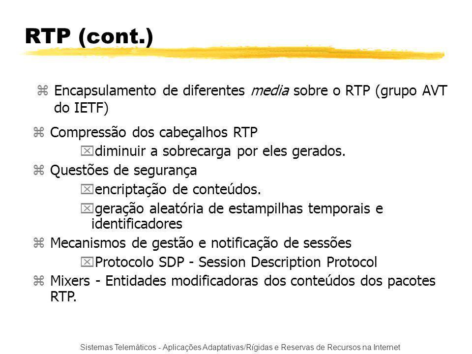 Sistemas Telemáticos - Aplicações Adaptativas/Rígidas e Reservas de Recursos na Internet RTP (cont.) zEncapsulamento de diferentes media sobre o RTP (grupo AVT do IETF) zCompressão dos cabeçalhos RTP xdiminuir a sobrecarga por eles gerados.