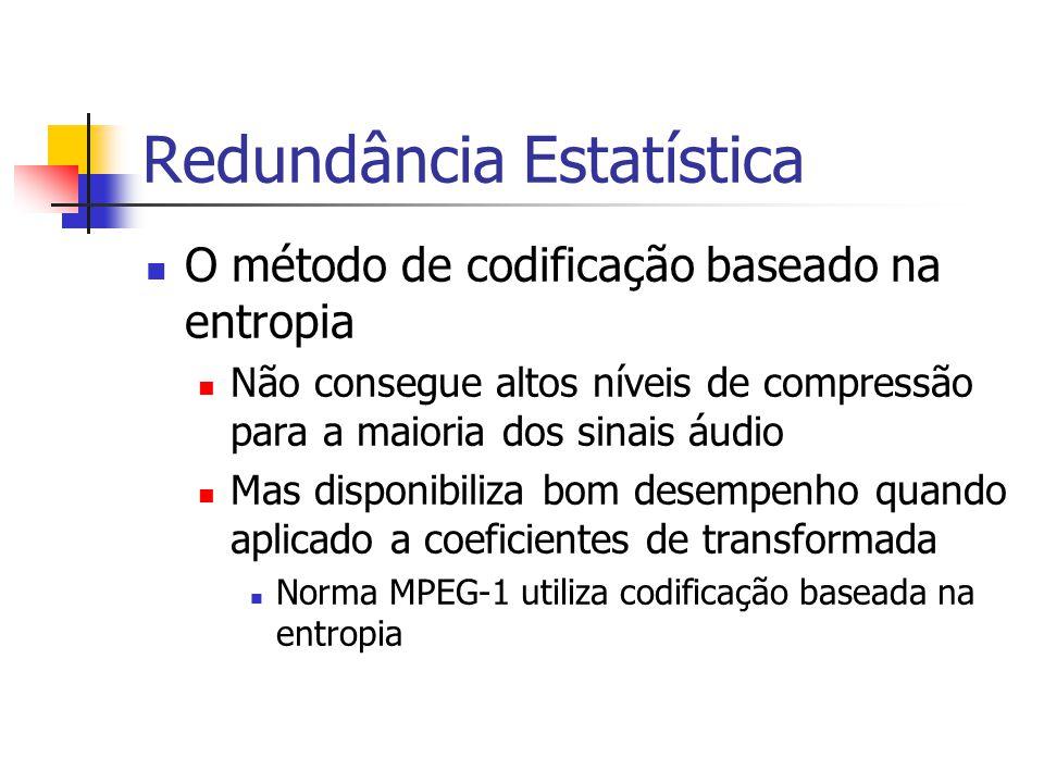 Redundância Estatística O método de codificação baseado na entropia Não consegue altos níveis de compressão para a maioria dos sinais áudio Mas dispon