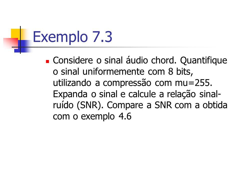 Exemplo 7.3 Considere o sinal áudio chord. Quantifique o sinal uniformemente com 8 bits, utilizando a compressão com mu=255. Expanda o sinal e calcule