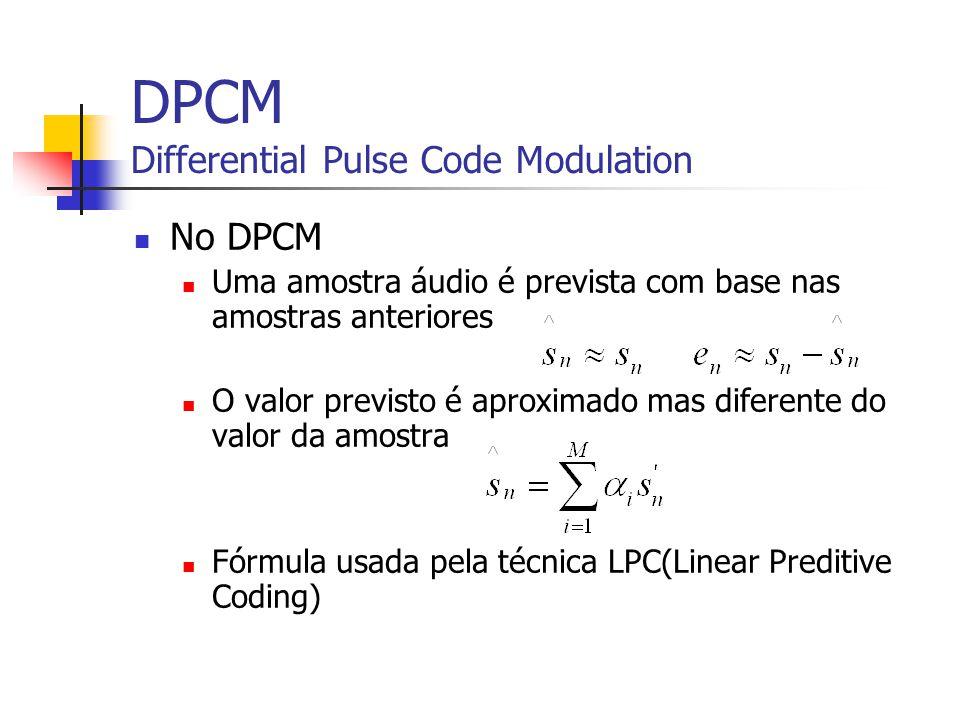 DPCM Differential Pulse Code Modulation No DPCM Uma amostra áudio é prevista com base nas amostras anteriores O valor previsto é aproximado mas difere