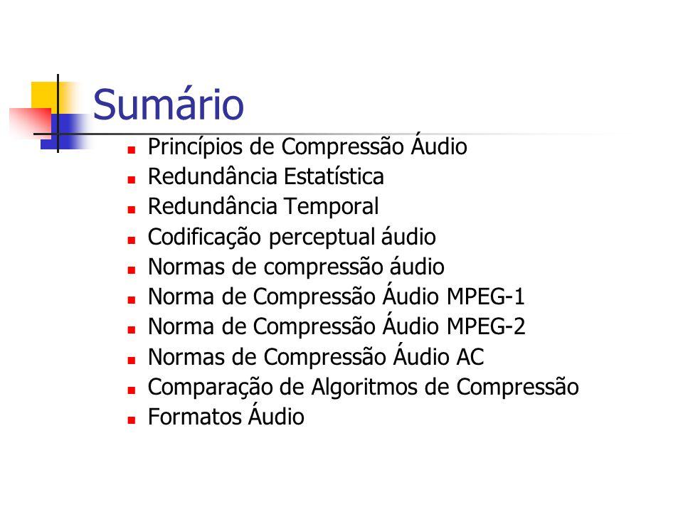 Comparação de algoritmos Débito (em Kb/seg) QualidadeAplicaçãoDisponível desde MPEG Camada 1 32-448Boa a 192 Kbps/canal DCC1991 MPEG Camada 2 32-384Boa a 256 Kbps/canal Difusão de Áudio Digital, CD-I, DVD 1991 MPEG Camada 3 32-320Boa a 96 Kbps/canal 1993 AC-3 Dolby32-640Boa a 384 Kbps/5.1 canais HDTV, Cabo, DVD 1991