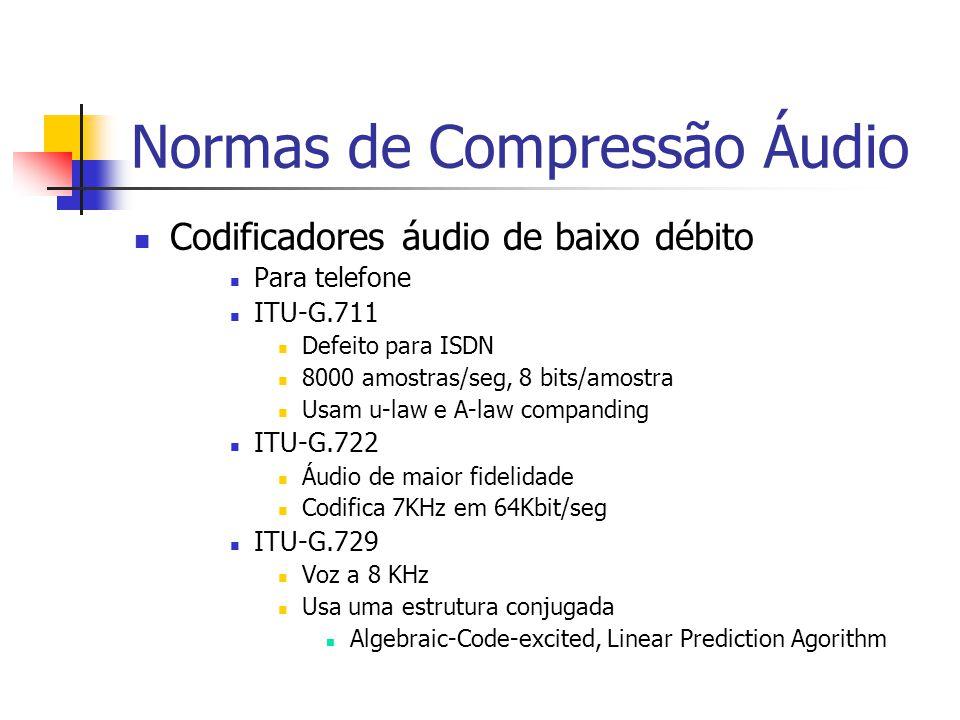 Normas de Compressão Áudio Codificadores áudio de baixo débito Para telefone ITU-G.711 Defeito para ISDN 8000 amostras/seg, 8 bits/amostra Usam u-law
