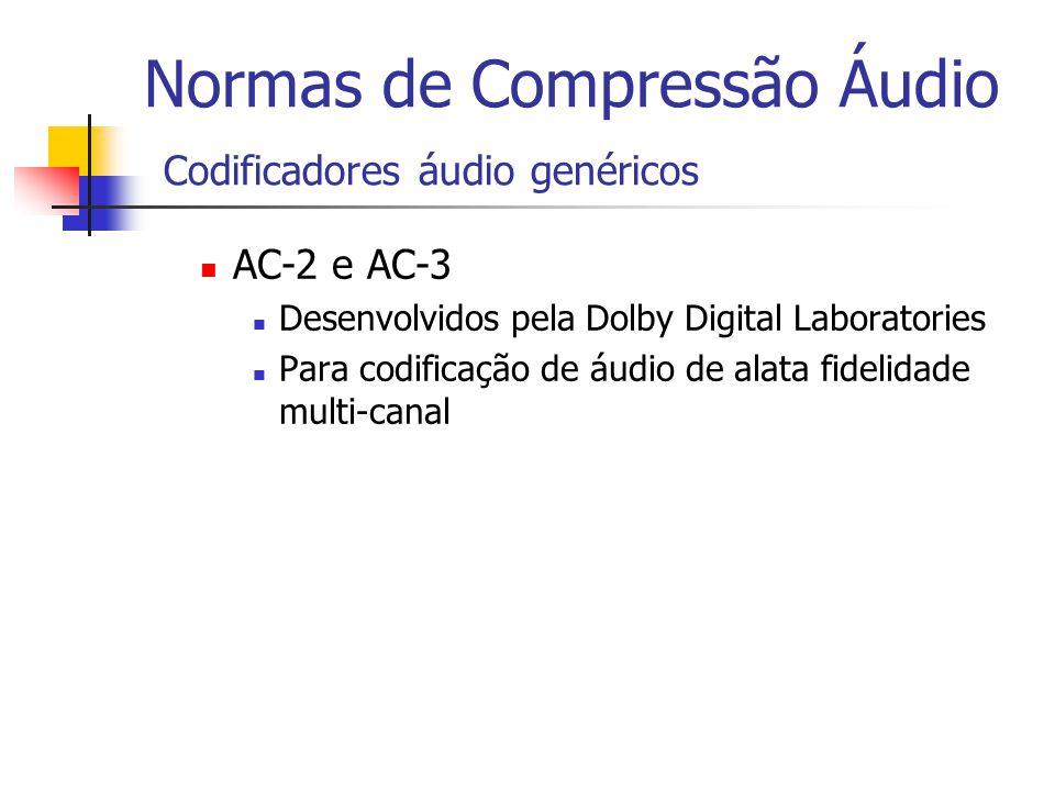 Normas de Compressão Áudio Codificadores áudio genéricos AC-2 e AC-3 Desenvolvidos pela Dolby Digital Laboratories Para codificação de áudio de alata
