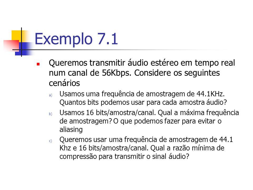 Codificação DPCM vários passos para a sequência [70,75,80,82,...] Instâncias deamostras 0123 Sinal original70758082 Erro do sinal075-67.9=6.480-73.6 =6.4 82-77.2 =4.8 Erro do sinal quantificado07.1/2=46.4/2=34.8/2=2 Erro reconstruído04*2=83*2=62*2=4 Sinal reconstruído7067.9+8=75.973.6+6= 79.6 77.2+4= 81.2 Sinal previsto para próxima amostra 70*0.97=6 7.9 75.9*0.97=73.679.6*0.97= 77.2 81.2*0.97 =78.8 Erro de reconstrução0-0.90.40.8 Nº de bits necessários7322