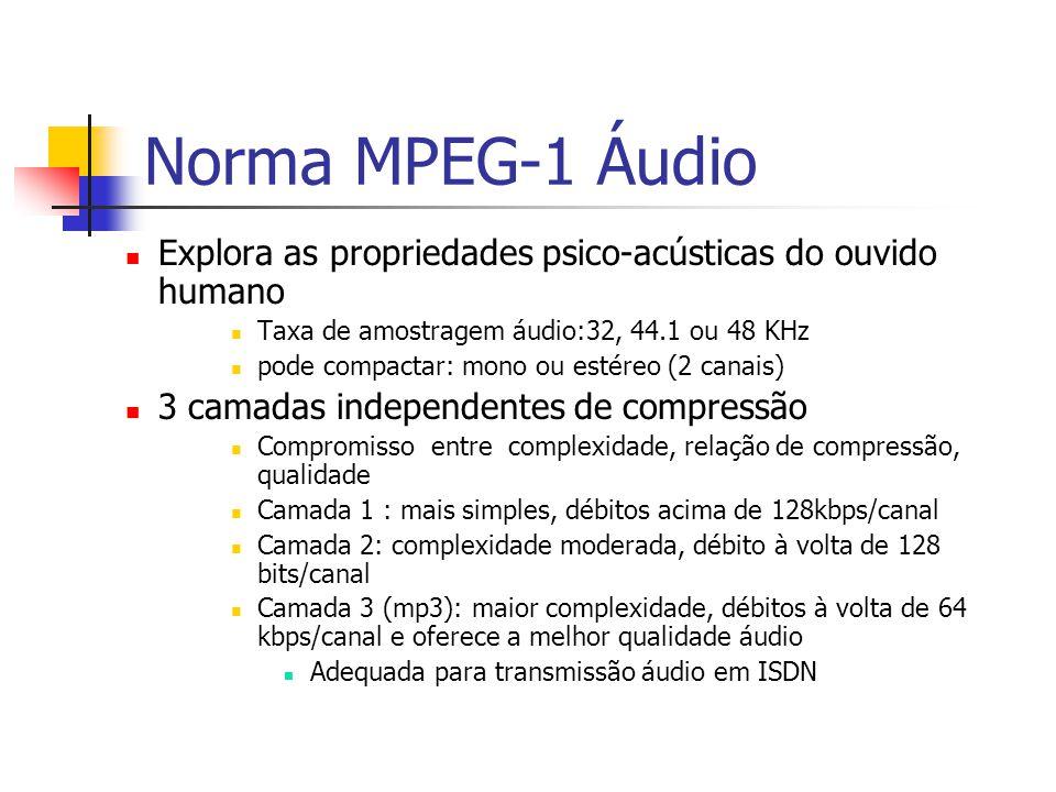 Norma MPEG-1 Áudio Explora as propriedades psico-acústicas do ouvido humano Taxa de amostragem áudio:32, 44.1 ou 48 KHz pode compactar: mono ou estére