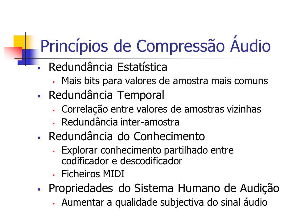 Princípios de Compressão Áudio Redundância Estatística Mais bits para valores de amostra mais comuns Redundância Temporal Correlação entre valores de