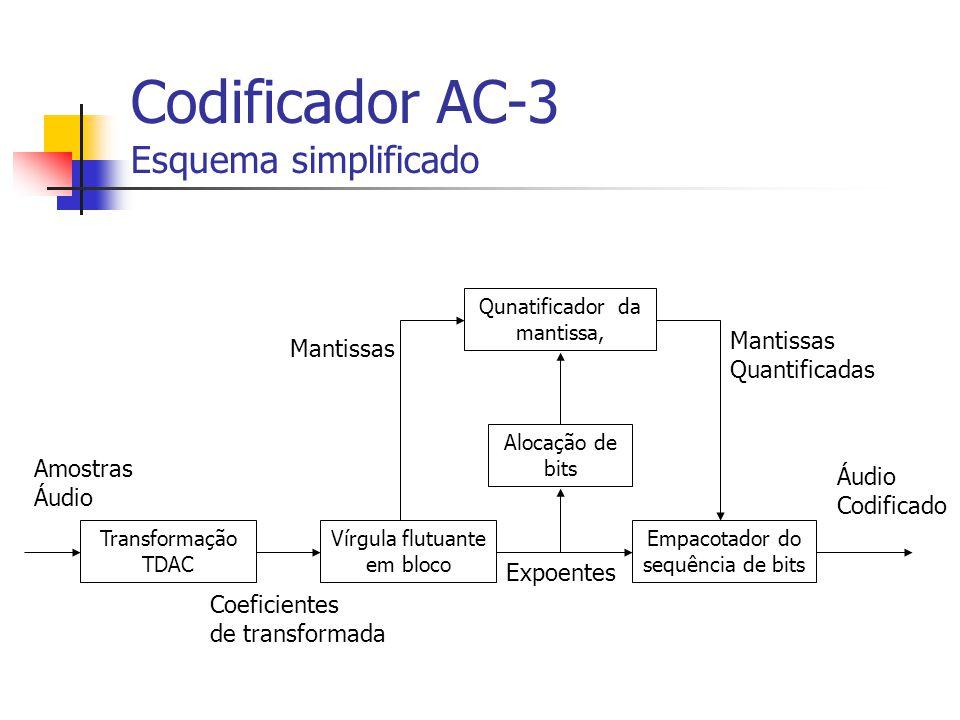 Codificador AC-3 Esquema simplificado Empacotador do sequência de bits Alocação de bits Qunatificador da mantissa, Vírgula flutuante em bloco Transfor