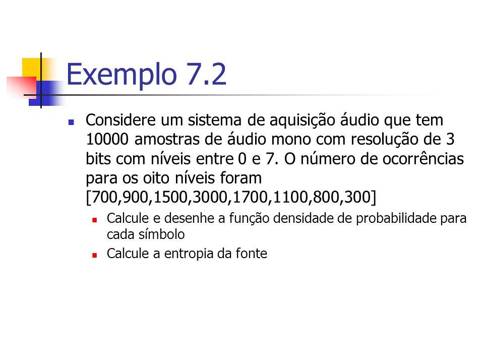 Solução p[0] = 700/10000 = 0.07 p[1] = 900/10000 = 0.09 p[2] = 1500/10000 = 0.15 p[3] = 3000/10000 = 0.30 p[4] = 1700/10000 = 0.17 p[5] = 1100/10000 = 0.11 p[6] = 800/10000 = 0.08 p[7] = 300/10000 = 0.03