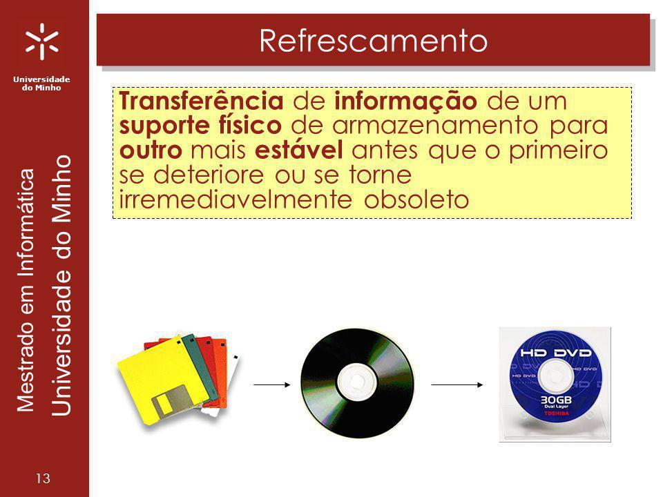 Universidade do Minho Mestrado em Informática Universidade do Minho 13 Refrescamento Transferência de informação de um suporte físico de armazenamento