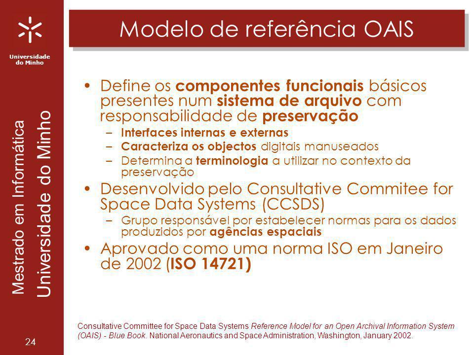 Universidade do Minho Mestrado em Informática Universidade do Minho 24 Modelo de referência OAIS Define os componentes funcionais básicos presentes nu