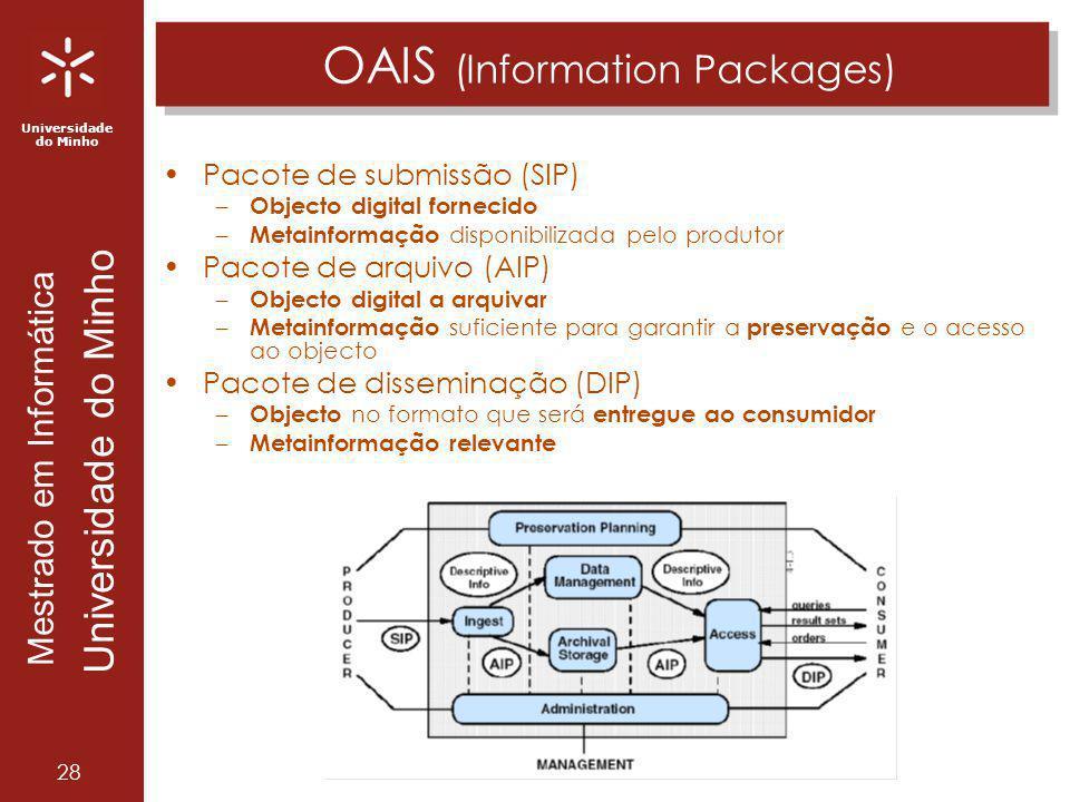 Universidade do Minho Mestrado em Informática Universidade do Minho 28 OAIS (Information Packages) Pacote de submissão (SIP) – Objecto digital forneci