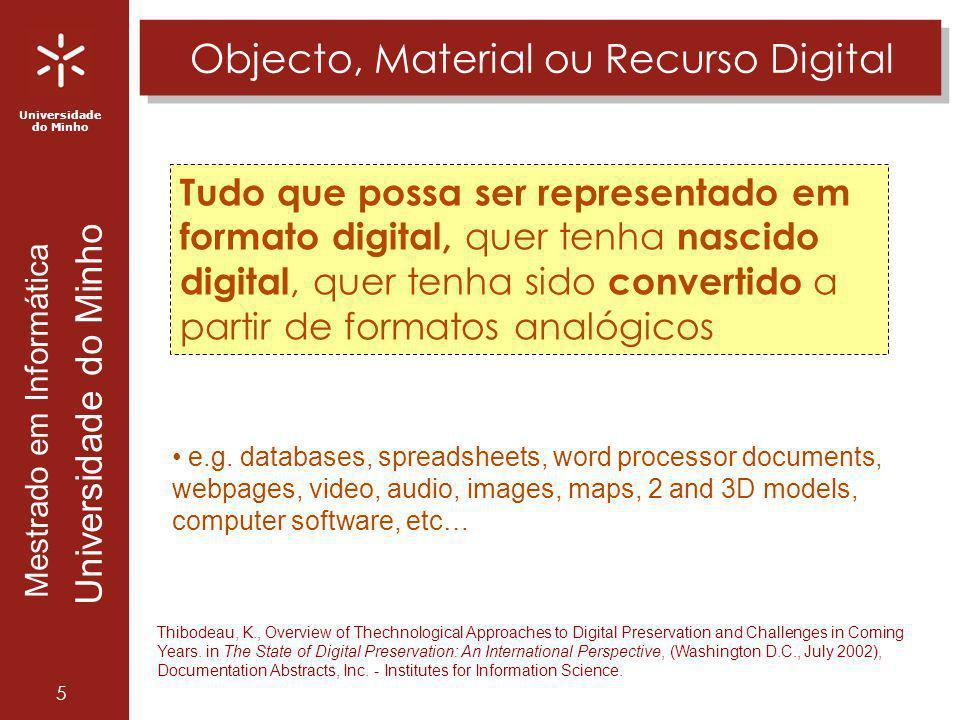 Universidade do Minho Mestrado em Informática Universidade do Minho 6 Analógico versos Digital