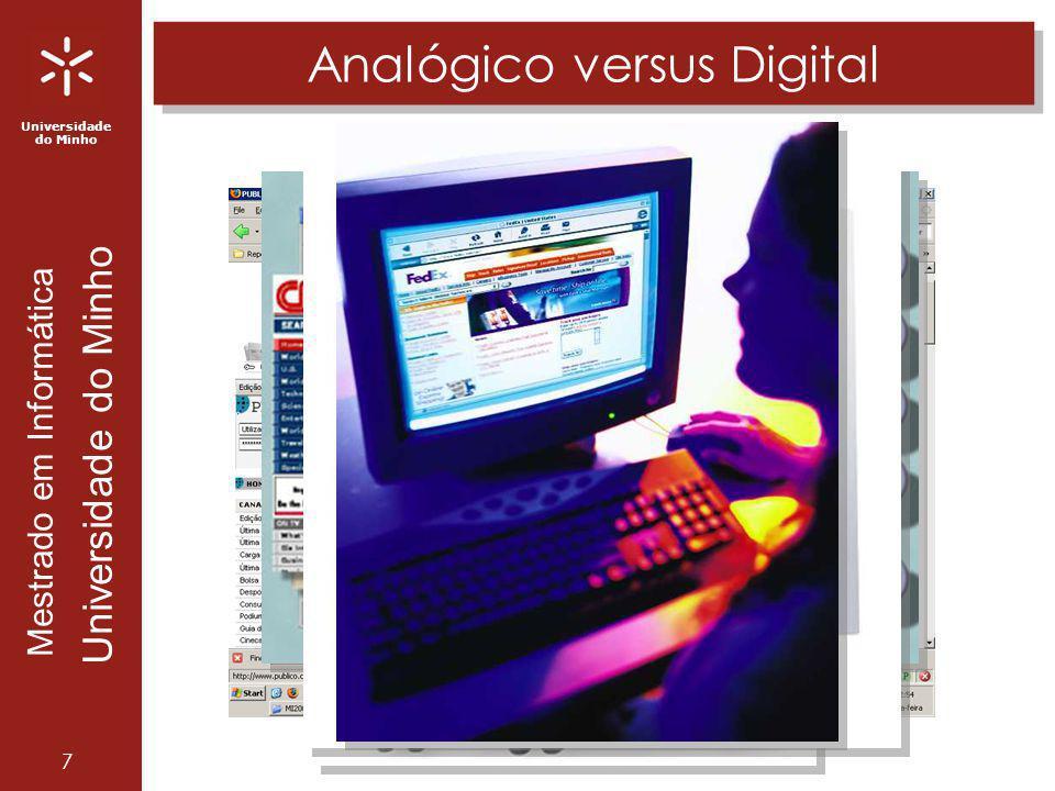 Universidade do Minho Mestrado em Informática Universidade do Minho 7 Analógico versus Digital