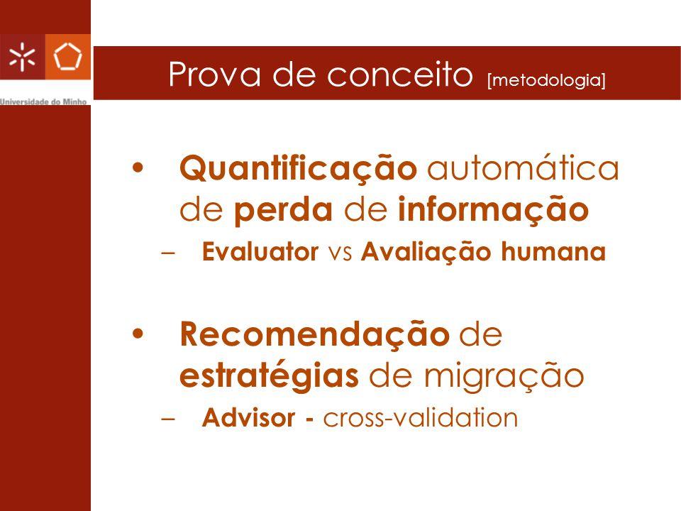 Prova de conceito [metodologia] Quantificação automática de perda de informação – Evaluator vs Avaliação humana Recomendação de estratégias de migraçã