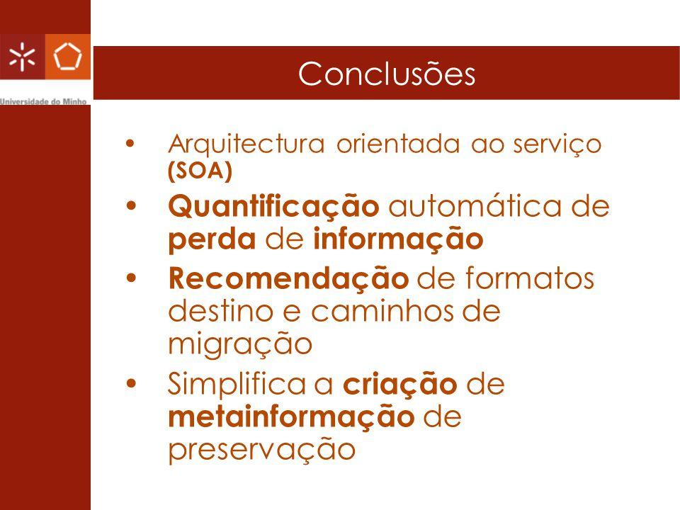 Conclusões Arquitectura orientada ao serviço (SOA) Quantificação automática de perda de informação Recomendação de formatos destino e caminhos de migr