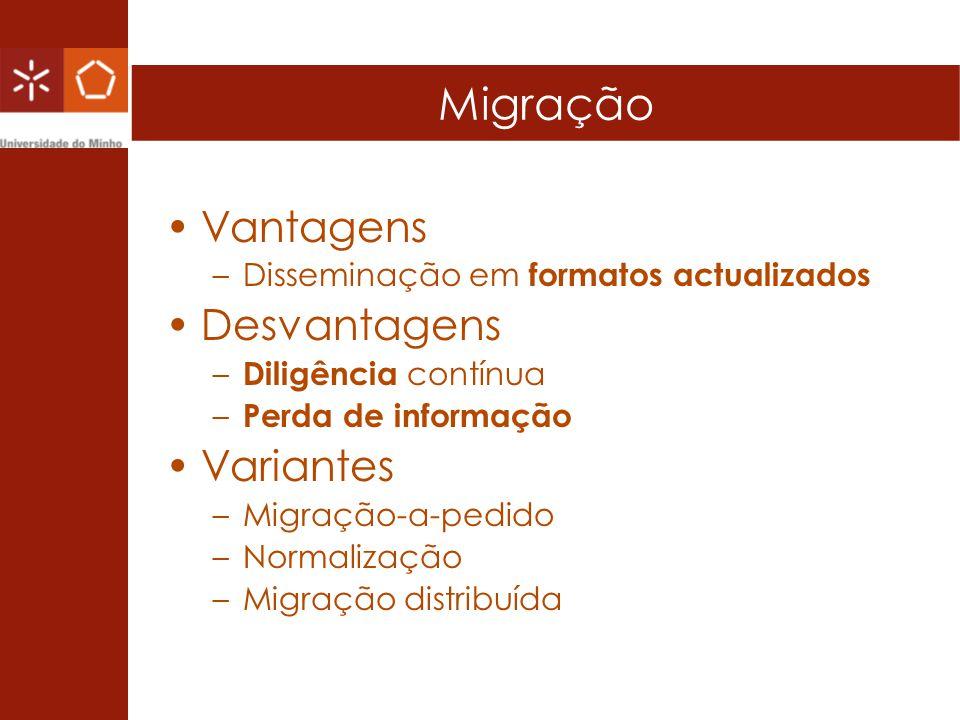 Migração Vantagens –Disseminação em formatos actualizados Desvantagens – Diligência contínua – Perda de informação Variantes –Migração-a-pedido –Norma