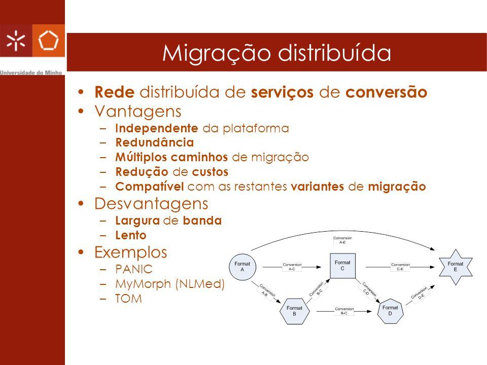 Migração distribuída Rede distribuída de serviços de conversão Vantagens – Independente da plataforma – Redundância – Múltiplos caminhos de migração –