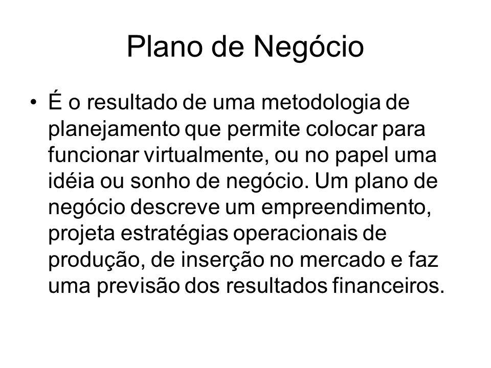 Plano de Negócio É o resultado de uma metodologia de planejamento que permite colocar para funcionar virtualmente, ou no papel uma idéia ou sonho de n