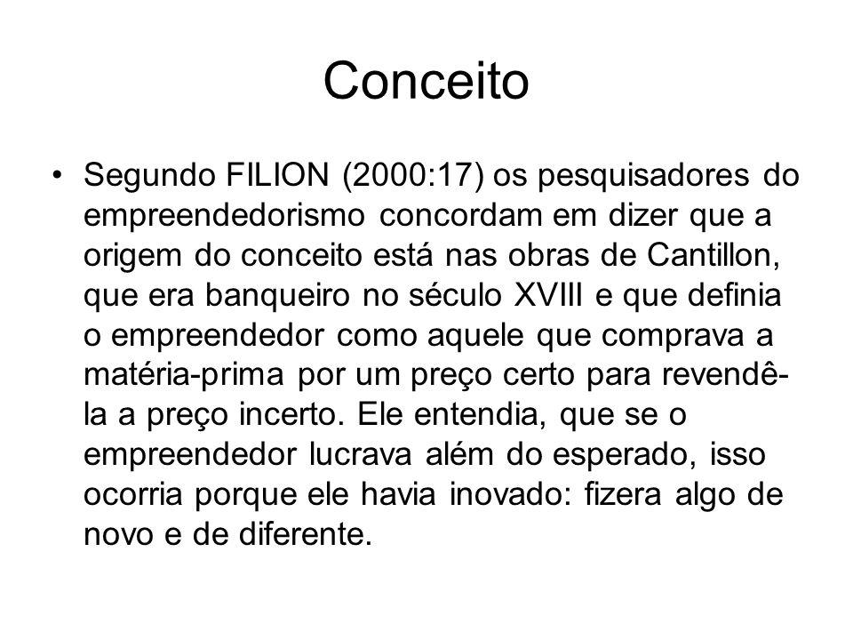 Conceito Segundo FILION (2000:17) os pesquisadores do empreendedorismo concordam em dizer que a origem do conceito está nas obras de Cantillon, que er