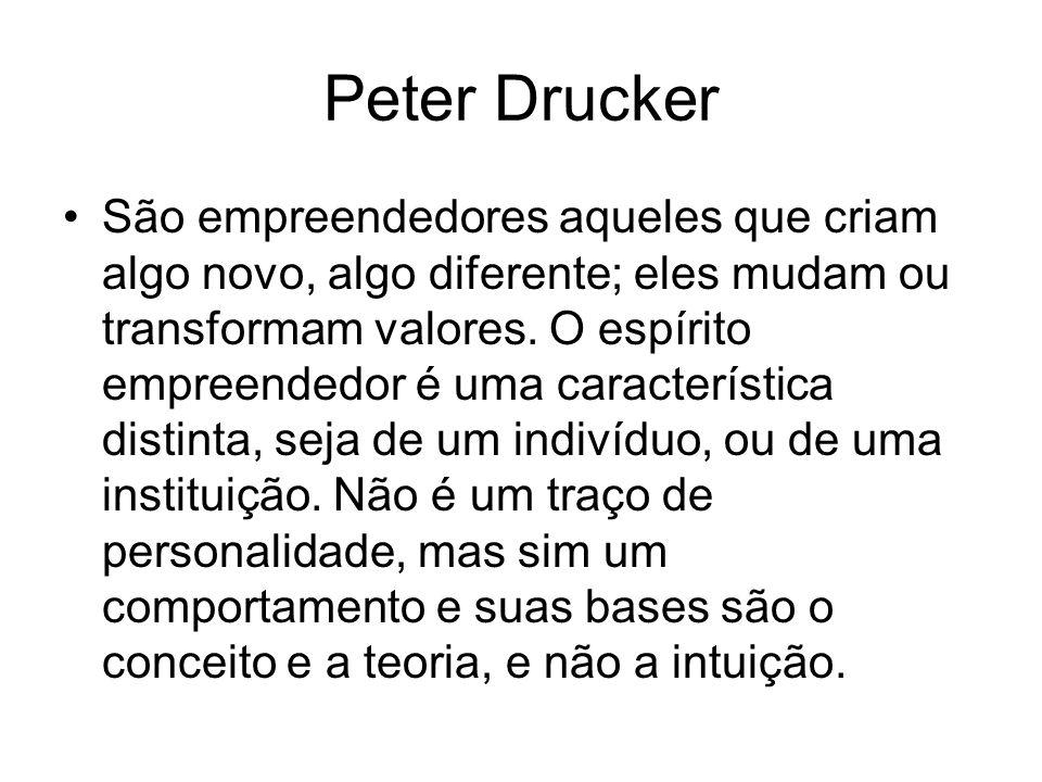 Peter Drucker São empreendedores aqueles que criam algo novo, algo diferente; eles mudam ou transformam valores. O espírito empreendedor é uma caracte