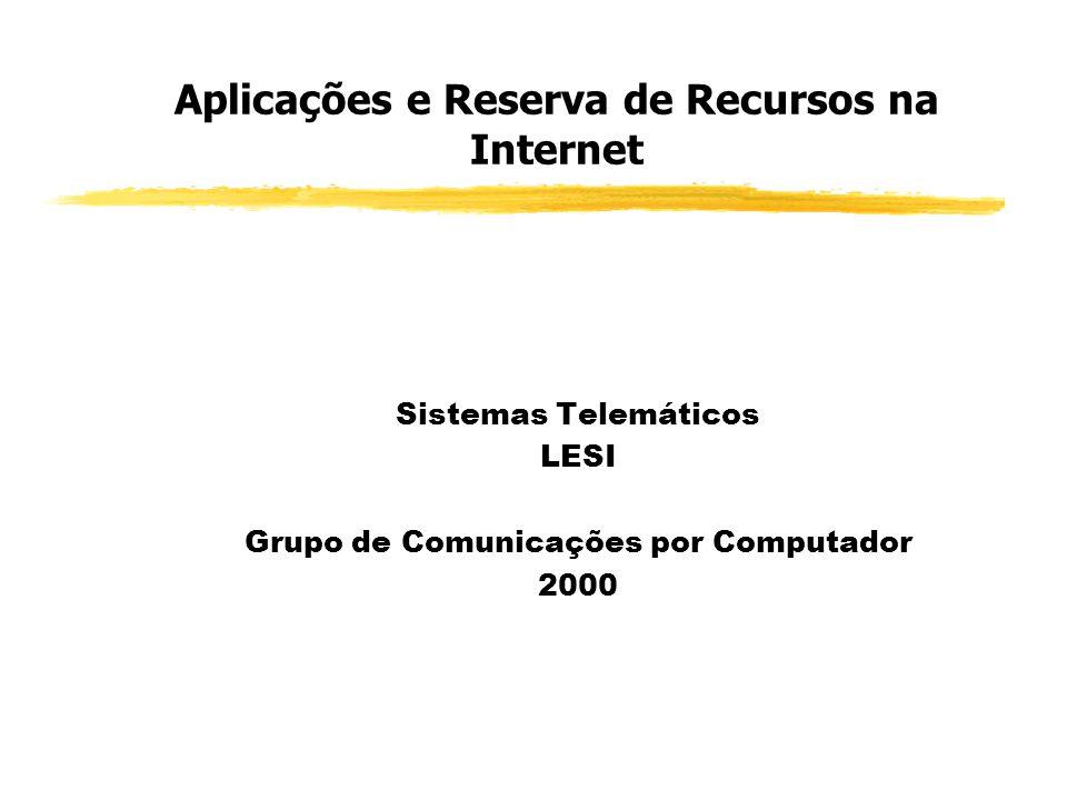 Sistemas Telemáticos - Aplicações Adaptativas/Rígidas e Reservas de Recursos na Internet Protocolo RTP Protocolo RTP (Real Time Protocol) (RFC 1889) Implementado como base às aplicações de T.R (adaptativas) Fornece mecanismos de transporte fim-a-fim a dados gerados por aplic.