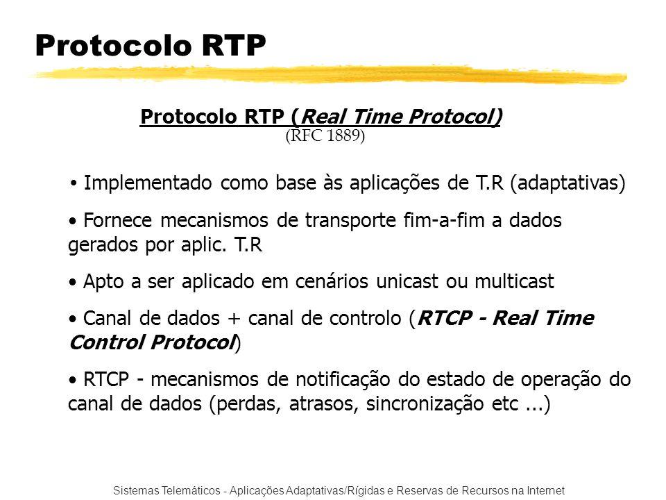 Sistemas Telemáticos - Aplicações Adaptativas/Rígidas e Reservas de Recursos na Internet Protocolo RTP Protocolo RTP (Real Time Protocol) (RFC 1889) I