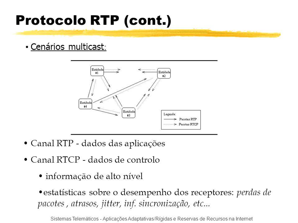 Sistemas Telemáticos - Aplicações Adaptativas/Rígidas e Reservas de Recursos na Internet Protocolo RTP (cont.) Canal RTP - dados das aplicações Canal