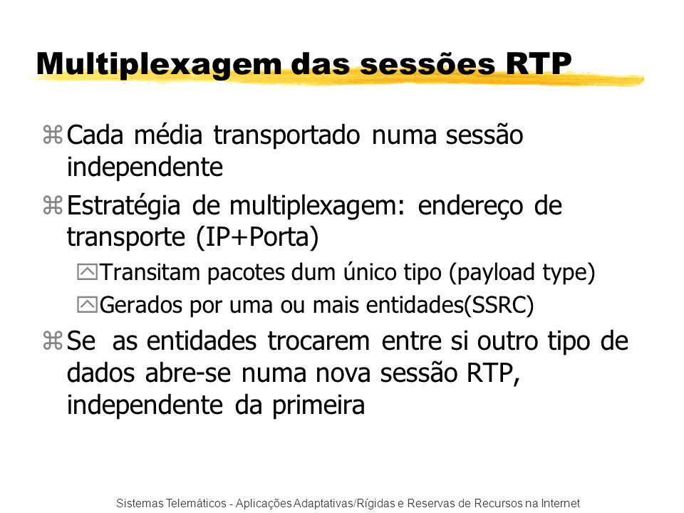 Sistemas Telemáticos - Aplicações Adaptativas/Rígidas e Reservas de Recursos na Internet Multiplexagem das sessões RTP zCada média transportado numa s
