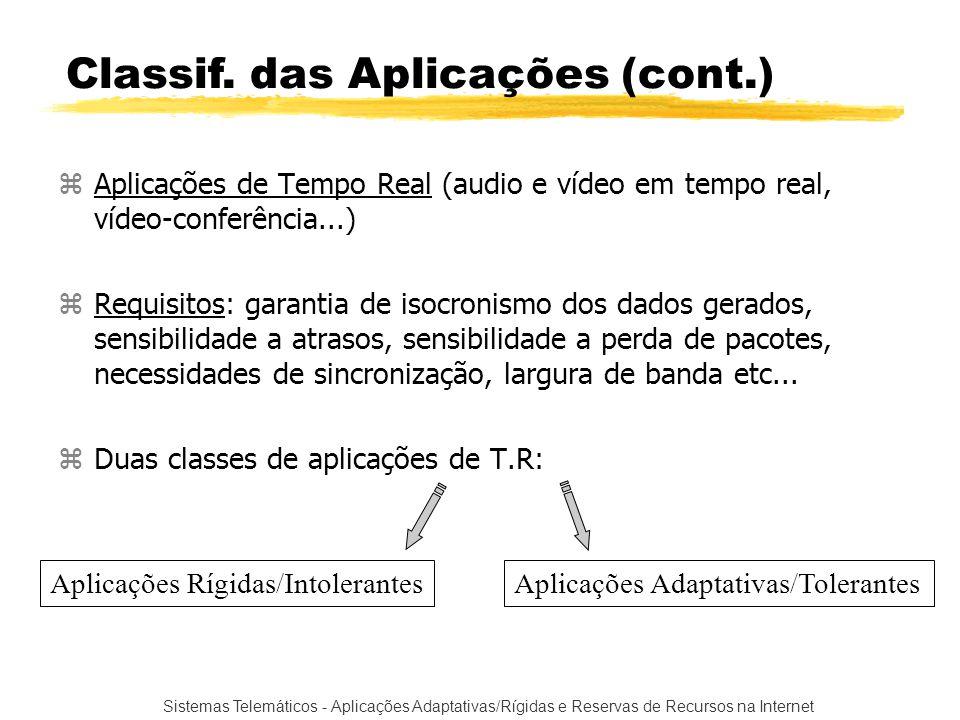 Sistemas Telemáticos - Aplicações Adaptativas/Rígidas e Reservas de Recursos na Internet zAplicações de Tempo Real (audio e vídeo em tempo real, vídeo