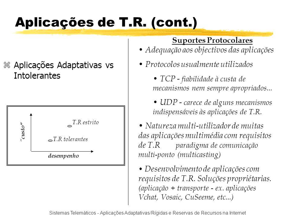 Sistemas Telemáticos - Aplicações Adaptativas/Rígidas e Reservas de Recursos na Internet Perdas de Pacotes (cont.) filtro perdas %PERDAS 0% 100 % lim_inf lim_sup %Perdas anunciada Sem perdas Congestionada Normal Se (( N entcong / N tot ) > % entcong) Se ( N entnorm / N tot ) > % entcong) Senão Débito - Diminuição, aumento,continuação Técnica de ponderação de estados dos receptores Cada receptor é classificado e depois é tomada uma decisão de débito de informação.