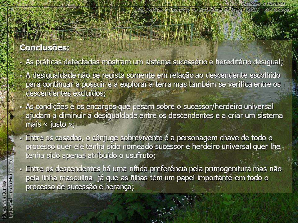 Leis, Práticas e Costumes na Zona Rural de Braga (XVIII – XIX séculos) Sucessão e Herança Margarida Durães Universidade do Minho, 2004 35 Conclusões: