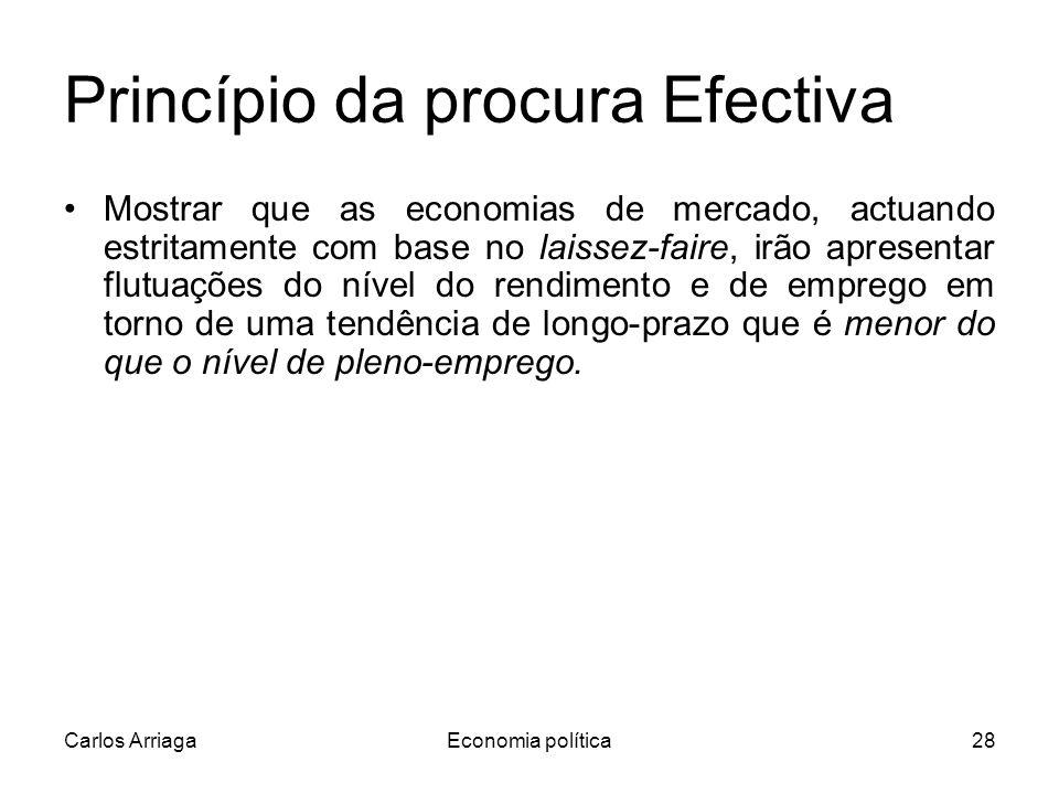 Carlos ArriagaEconomia política28 Princípio da procura Efectiva Mostrar que as economias de mercado, actuando estritamente com base no laissez-faire, irão apresentar flutuações do nível do rendimento e de emprego em torno de uma tendência de longo-prazo que é menor do que o nível de pleno-emprego.