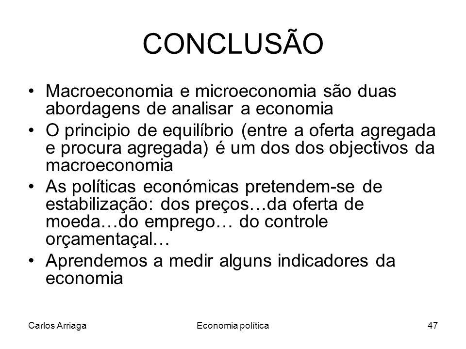 Carlos ArriagaEconomia política47 CONCLUSÃO Macroeconomia e microeconomia são duas abordagens de analisar a economia O principio de equilíbrio (entre a oferta agregada e procura agregada) é um dos dos objectivos da macroeconomia As políticas económicas pretendem-se de estabilização: dos preços…da oferta de moeda…do emprego… do controle orçamentaçal… Aprendemos a medir alguns indicadores da economia