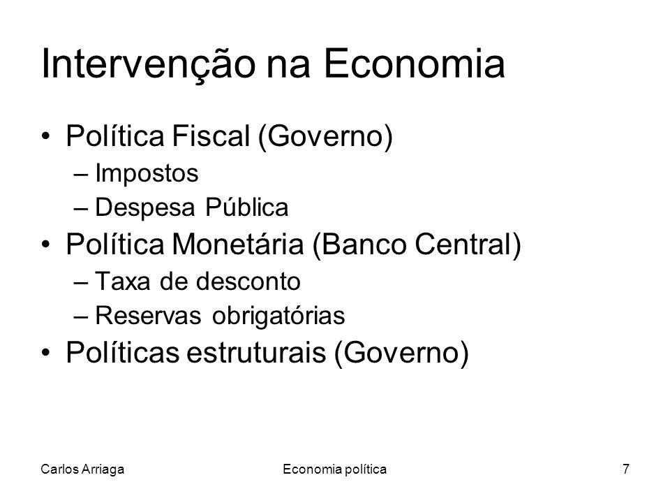Carlos ArriagaEconomia política7 Intervenção na Economia Política Fiscal (Governo) –Impostos –Despesa Pública Política Monetária (Banco Central) –Taxa de desconto –Reservas obrigatórias Políticas estruturais (Governo)