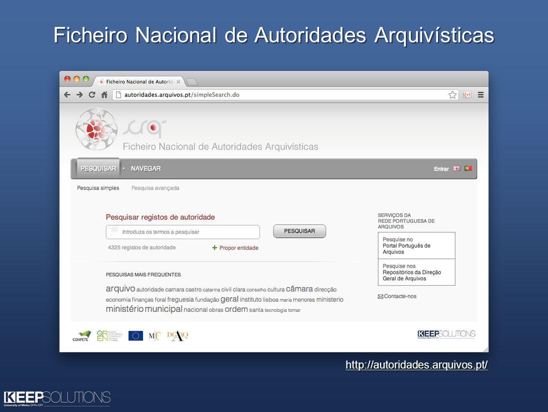 Ficheiro Nacional de Autoridades Arquivísticas http://autoridades.arquivos.pt/