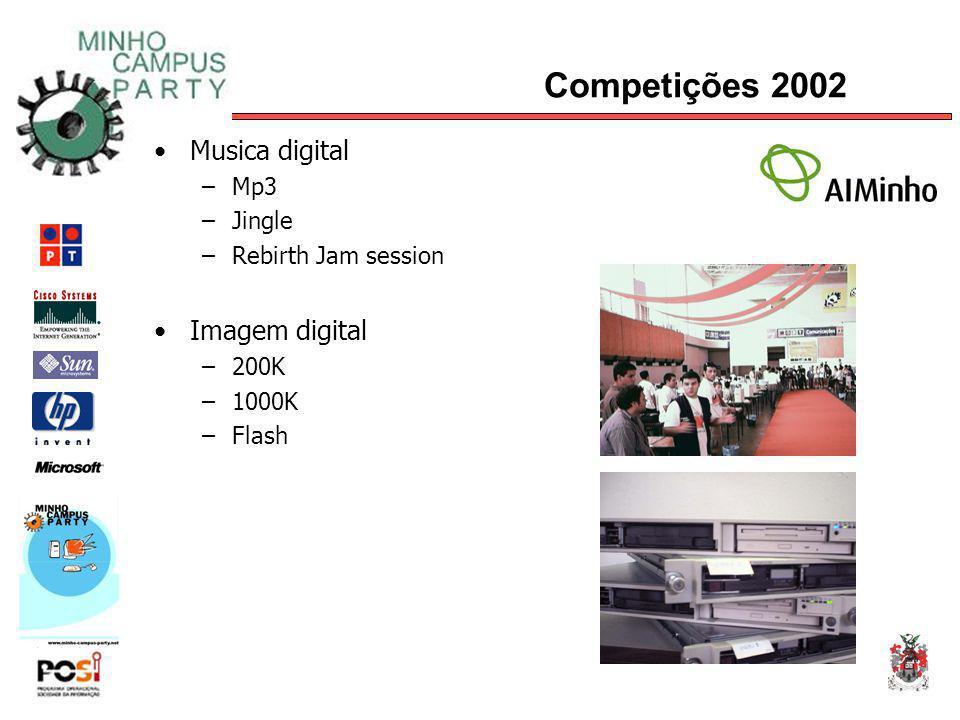 Competições 2002 Musica digital –Mp3 –Jingle –Rebirth Jam session Imagem digital –200K –1000K –Flash
